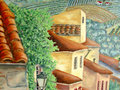 Italien village houses and roofs oil painting. Stock Image