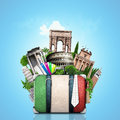 Italy attractions italy and retro suitcase travel Stock Images