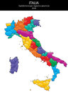 Italy blank map illustration of province and region maps Stock Photography