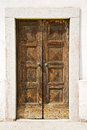 Italy church santo antonino the old door sunny day varese entrance and mosaic Stock Image