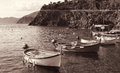 Italy. Cinque Terre. Boats. In Sepia toned. Retro style Royalty Free Stock Photo