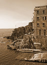 Italy. Cinque Terre. Riomaggiore village. In Sepia toned. Retro Royalty Free Stock Photo