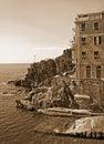 Italy. Cinque Terre. Riomaggiore village. In Sepia toned. Retro Royalty Free Stock Photo