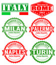 Italy cities stamps set of grunge rubber with names of vector illustration Royalty Free Stock Photo