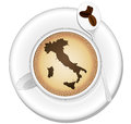 Italy coffee illustration of cup with country shape Royalty Free Stock Images