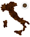 Italy coffee illustration of shape with bean Stock Photo