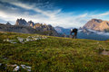 Italy, Dolomites - Male hiker photographers make the best pictures at dawn Royalty Free Stock Photo