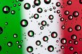 Italy flag reflection of in water droplets Royalty Free Stock Image