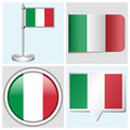 Italy flag set of sticker button label various and flagstaff Stock Photo