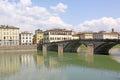 Italy. Florence. Promenade street and bridge across Arno River Royalty Free Stock Photo
