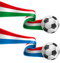Italy and france flag with soccer ball Stock Photography