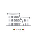 Italy icon with colosseum of Rome and italian flag