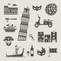 Italy icons vector set of stylized Stock Photography