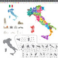 Italy map colored by regions Royalty Free Stock Photo