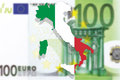 Italy map and flag on Euro money background Royalty Free Stock Photo