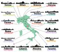 Italy map with largest italian cities skylines silhouettes vector set