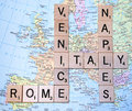 Italy Map with Scrabble Letters Royalty Free Stock Photo