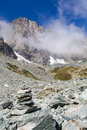 Italy monviso mountain a path sign close to the top of one of the most scenic mountain of alps Stock Photos