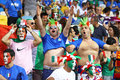 Italy national football team supporters kyiv ukraine july show their support during uefa euro championship final game at nsc Stock Image