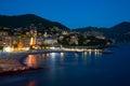 Italy, night city on seacoast Royalty Free Stock Photo