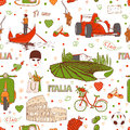 Italy pattern set of the doodle sketches travel background Stock Photos