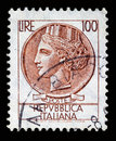 Italy postage stamp Turrita serie. 100 Lire Royalty Free Stock Photo
