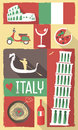 Italy poster postcard vector drawing of famous cultural icons of on a retro Stock Photo