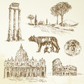 Italy rome hand drawn collection Royalty Free Stock Photo