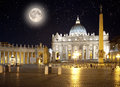 Italy. Rome. Vatican. Saint Peter's Square at night Royalty Free Stock Photo