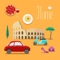 Italy and rome vector illustration design element symbols icons colosseum scooter pizza Stock Image