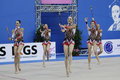 Italy team with clubs pesaro april the of performs during the rhythmic gymnastic world cup on april in pesaro Royalty Free Stock Photo