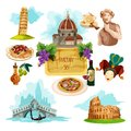 Italy touristic set with cartoon venice gondola rome colloseum and pisa tower icons isolated vector illustration Royalty Free Stock Photos