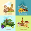 Italy touristic set design concept with architecture nature and cuisine cartoon icons isolated vector illustration Royalty Free Stock Photo