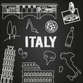 Italy travel background. Famous places and symbols of Italy on chalkboard. Outline icons