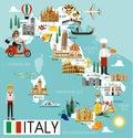 Italy Travel Map. Royalty Free Stock Photo