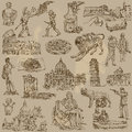 Italy traveling series collection of an hand drawn illustrations description each drawing comprise of two or three layer of Royalty Free Stock Photo