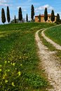 Italy, Tuscany landscape with farm house Royalty Free Stock Images