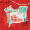 Italy vintage card with stamps scrapbook design elements in Stock Photo