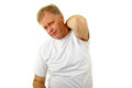 Itching adult man scratching his itchy back Royalty Free Stock Photo
