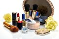 Items for decorative cosmetics, makeup, mirror and flowers Royalty Free Stock Photo