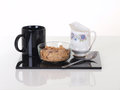 Items found at a breakfast table situated studio photography Royalty Free Stock Photography