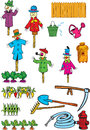 Items for the garden and kailyard illustration shows a set of tools objects illustration done in cartoon style on separate Stock Images
