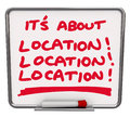 Its all about location destination best area spot it s written on a dry erase board to illustrate the top or neighborhood Royalty Free Stock Photos