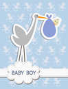 Its a baby boy stork with a baby vector illustration of birth concept on blue background Stock Photo