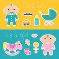 Its a boy girl banner set Baby shower card
