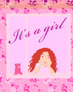 Its a girl card vector Stock Photo