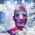 Its made of stars mans head with angels and clouds Royalty Free Stock Images