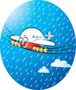 Its raining again vector illustration of a jumbo airplane with fellows together Royalty Free Stock Photography