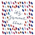 Its summer time lettering with watercolor drops. Royalty Free Stock Photo
