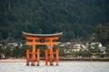 Itsukushima shrine, floating Torii gate, Miyajima island, Japan. Royalty Free Stock Photo
